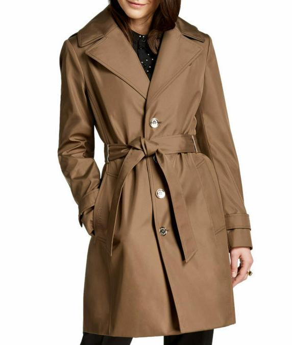 belted hooded trench coat beige s new
