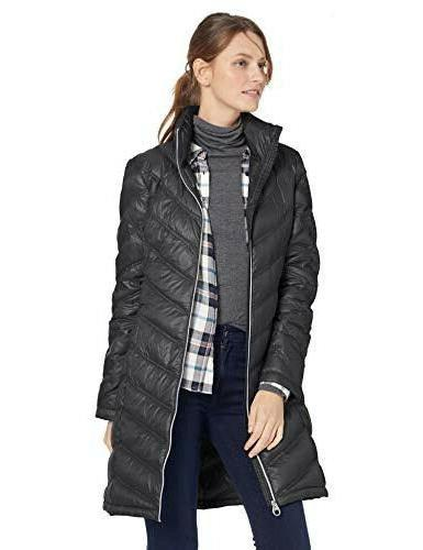 black chevron quilted packable down coat m