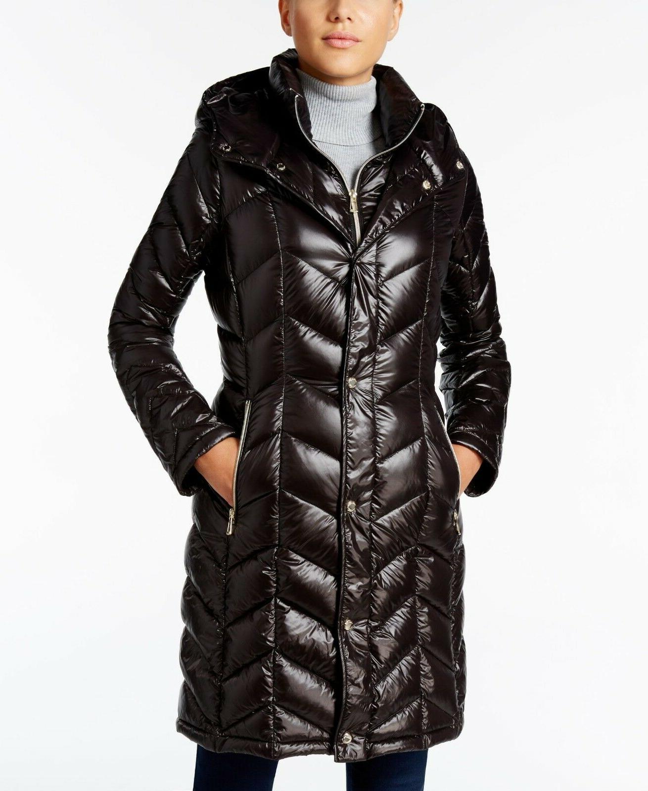 Calvin Klein Chevron Down Quilted Hooded Packable Puffer Jac