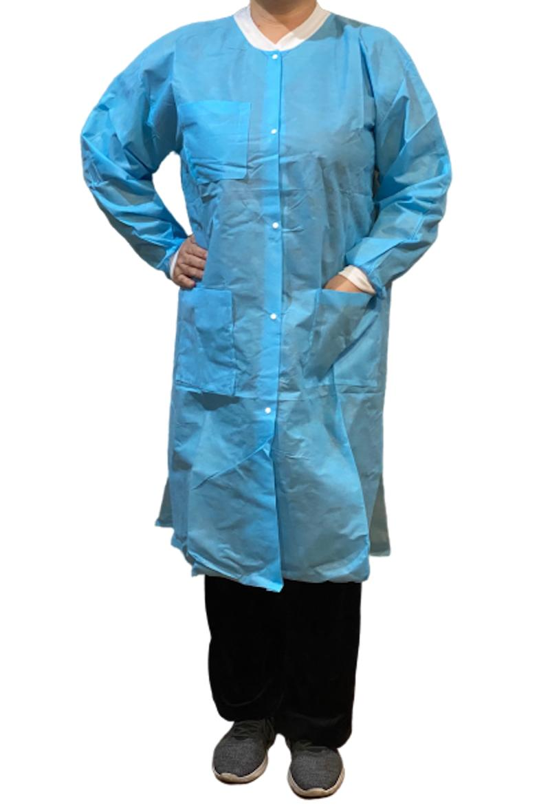 disposable lab coat 3 pockets blue or
