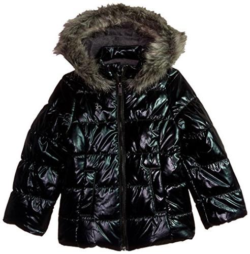 girls little metallic puffer jacket gunmetal 5