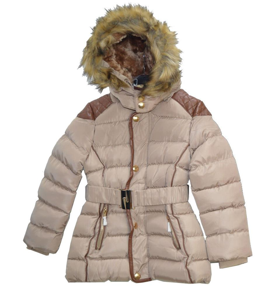Girls Long Winter Quilted Outerwear With Fur