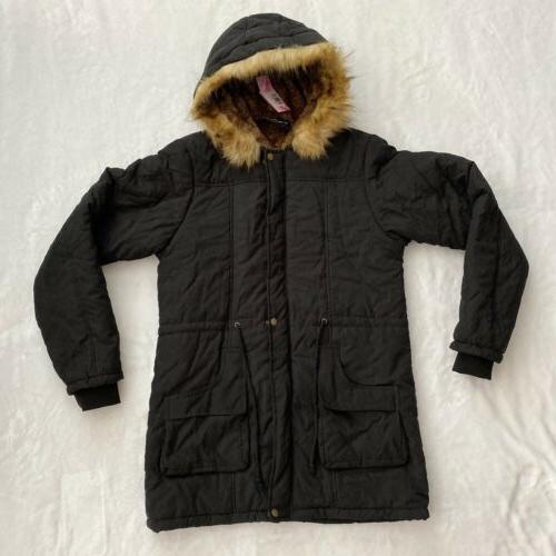 iloveSIA Hooded Anorak with Fur, Black, 8, NWT