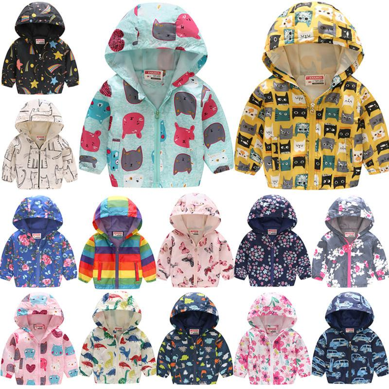 Toddler Kid Boy Girls Waterproof Windproof Hooded Rain Coat