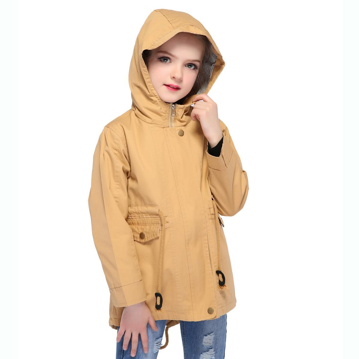 Kids Girls Hooded Children Boys Windproof
