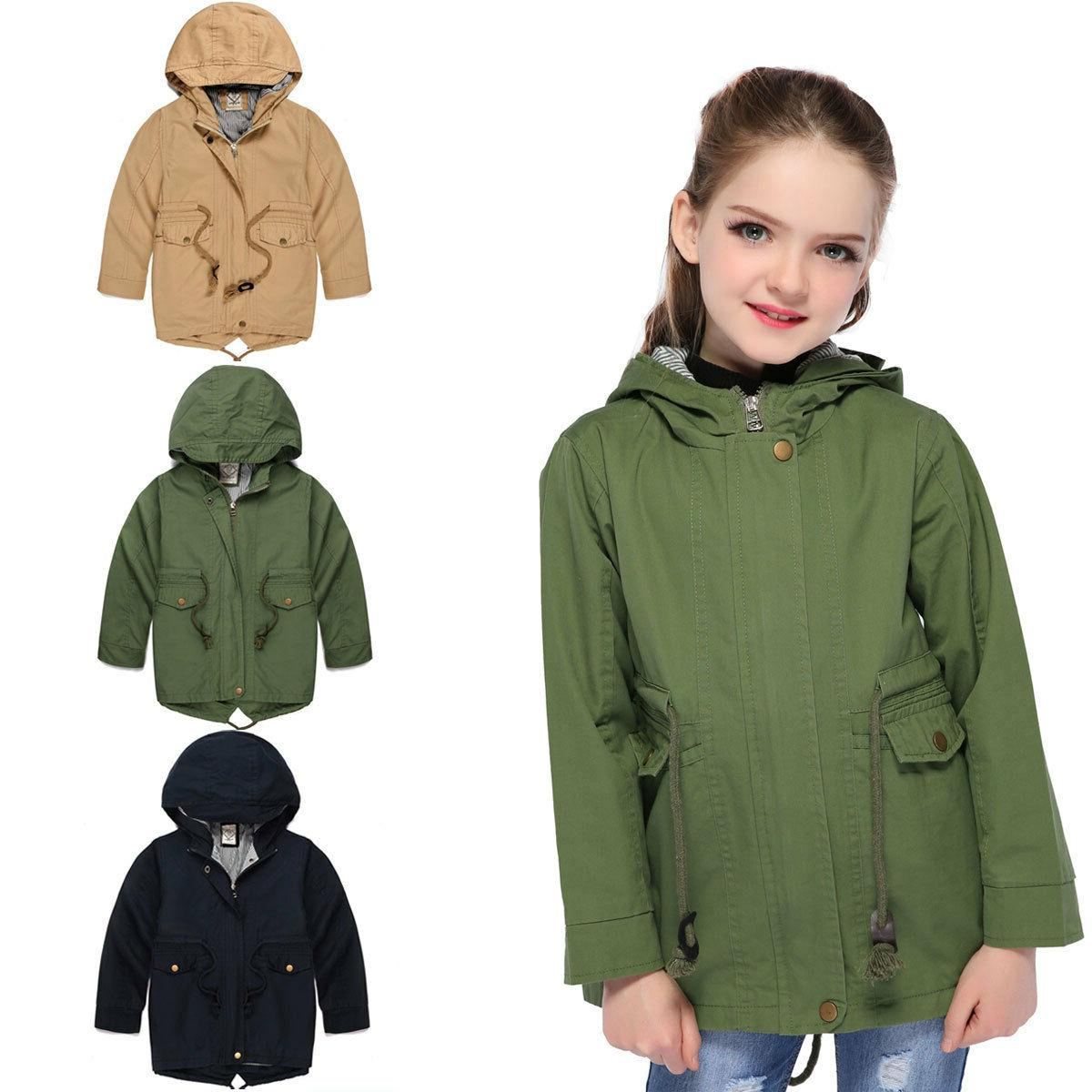 kids girls hooded jackets children boys windproof