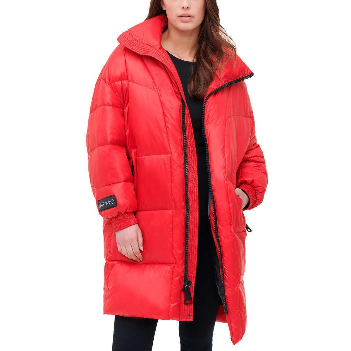 ladies womens oversized puffer jacket red new