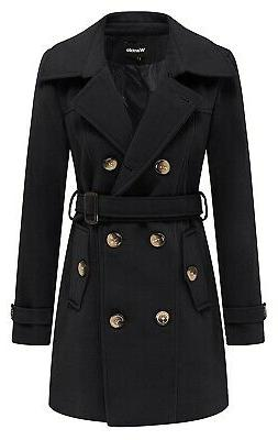 - Wantdo Women's Autumn Double Breasted Pea Coat with Belt
