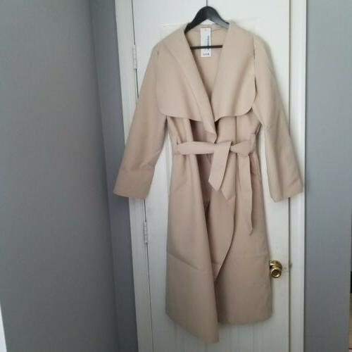 lite weight wool coat with belt size