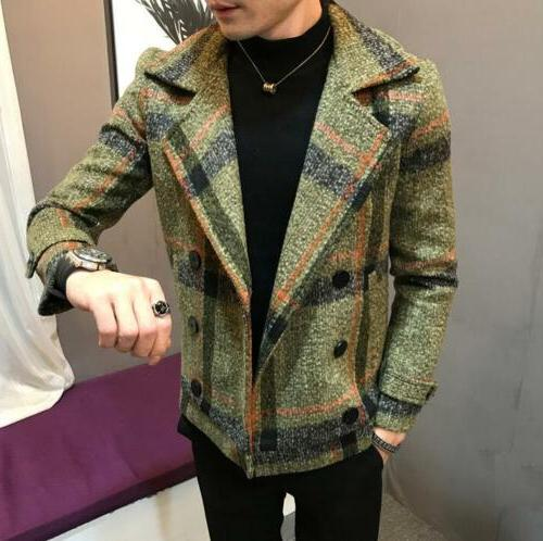 Men's Fashion Double-breasted Coats Wool