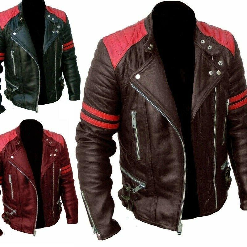 men s leather motorcycle metal button jacket