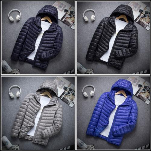Men's Packable Ultralight Hoodie Down Jacket Winter Hooded P