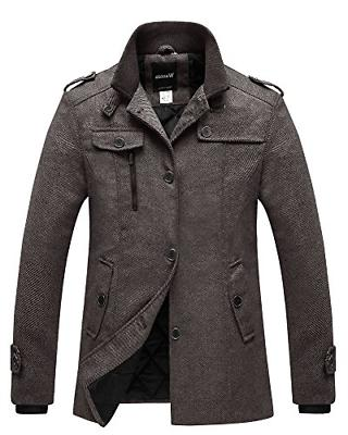 Wantdo Men's Quilted Lined Pea Coat Single Breasted Thicken