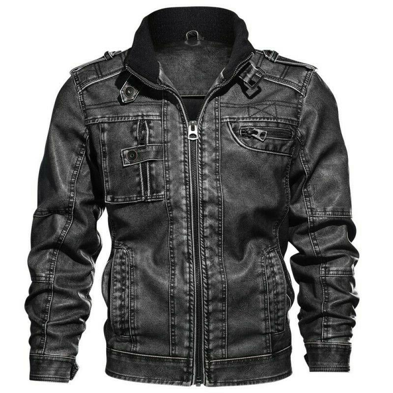 Men's Tactical Leather Jacket Motorcycle Biker Outwear
