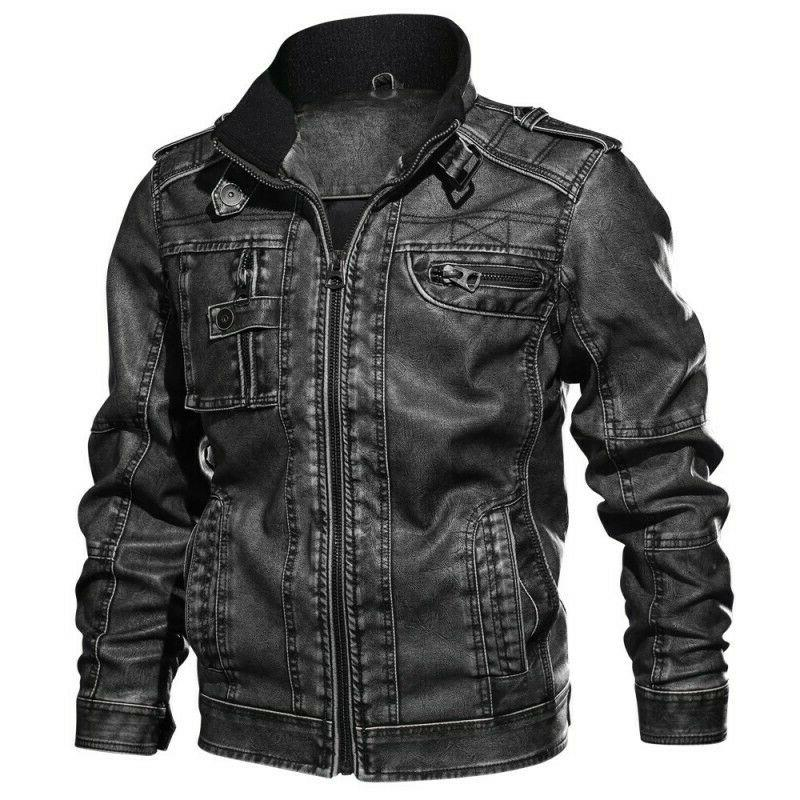 Men's Leather Motorcycle Bomber Biker Coat Outwear