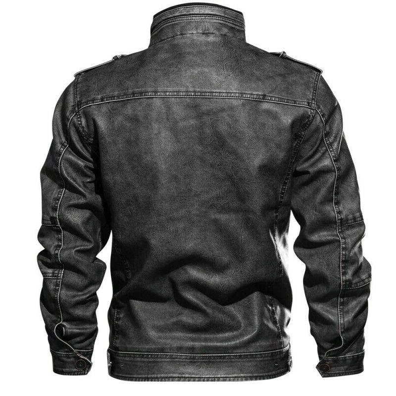 Men's Stand Leather Biker Coat Outwear