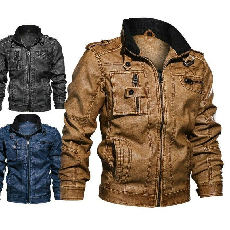 men s tactical stand collar leather jacket