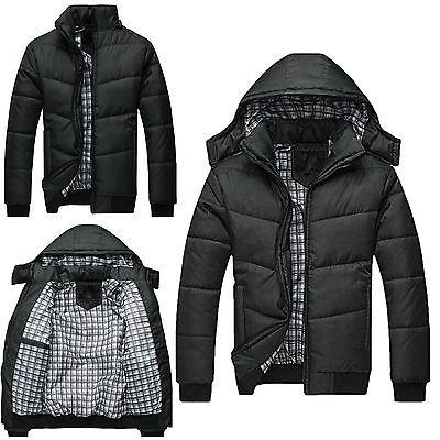 Mens Black Puffer Jacket Warmer Overcoat Outwear Padded Hood