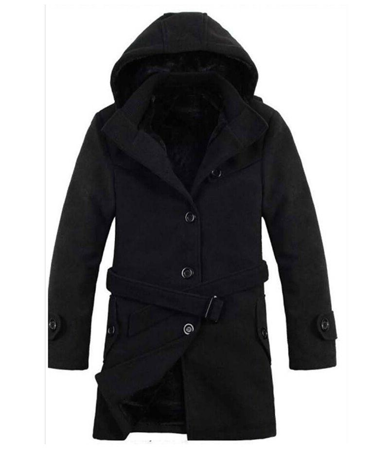 Men's Wool Thicken Padded Hooded Coats Jackets