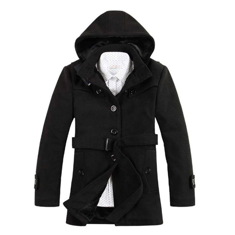 Men's Wool Thicken Padded Hooded Coats Winter