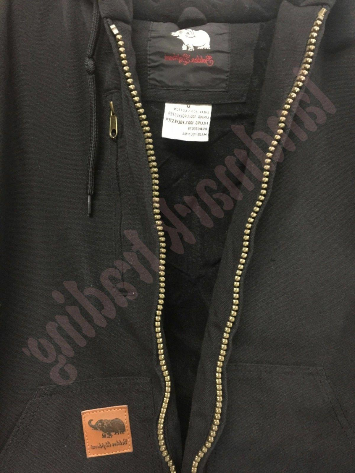Men Canvas Quilted Thermal Lined Coat Industrial Winter