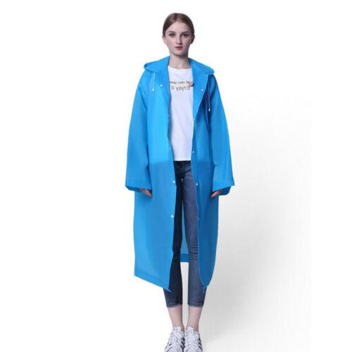 Men Women PE Hooded Raincoat Coat