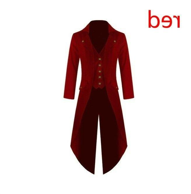 Mens Coats Steampunk Vintage Tailcoat Victorian