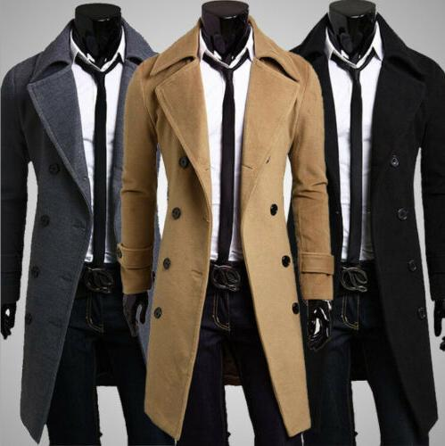 Mens Winter Formal Trench Coat Double Breasted Overcoat Long
