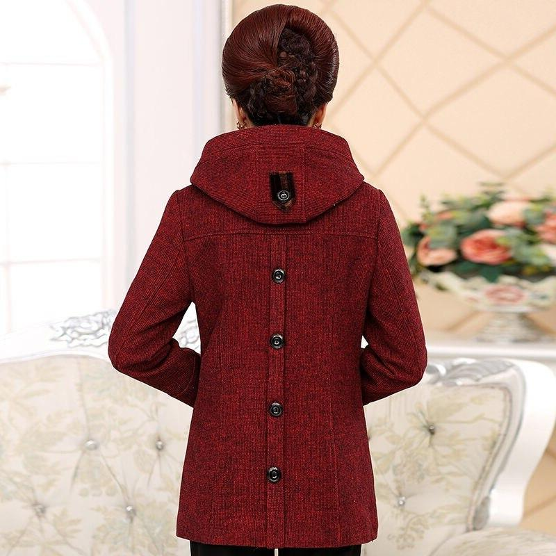 Vangull 5XL <font><b>Coat</b></font> Winter Faux Fur Outwear Middle-aged Plush Linner Thick Wool for Mum