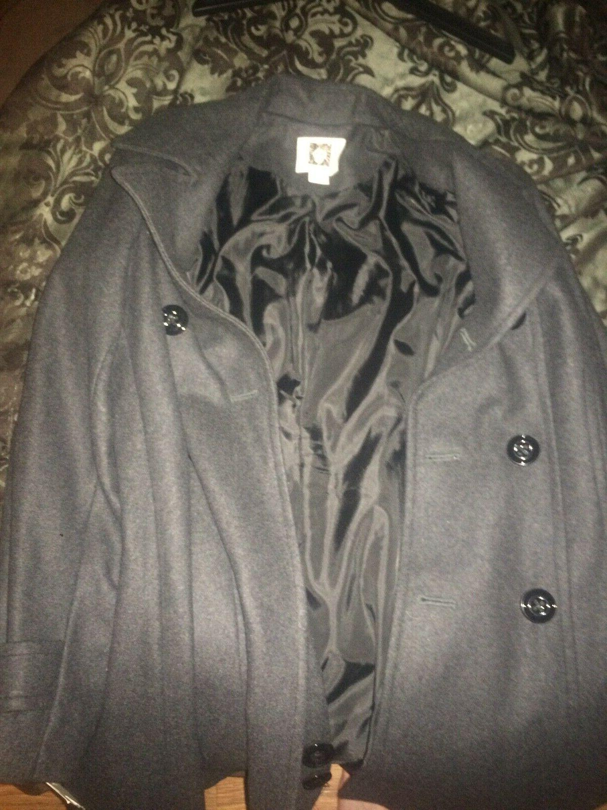 NEW Anne Klein Classic Double Breasted Coat, Black,