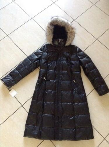 nwt fur hooded long puffer coat in