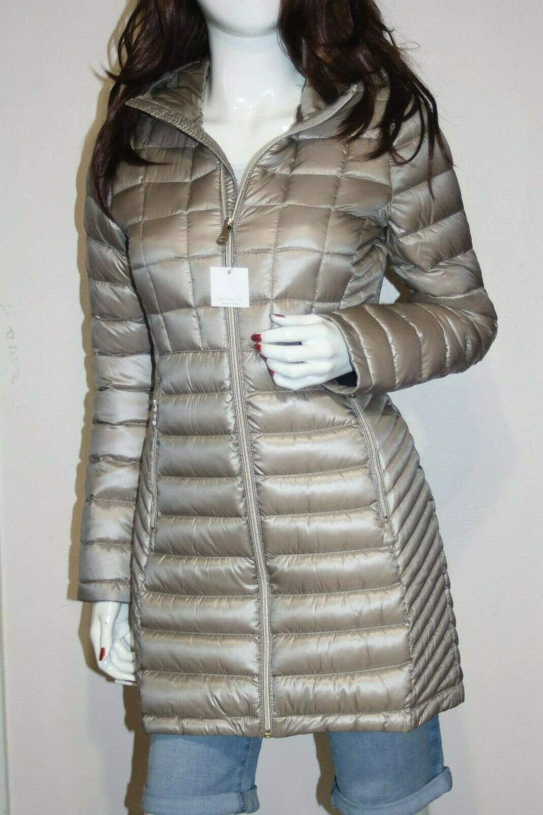 nwt hooded quilted zip front packable women