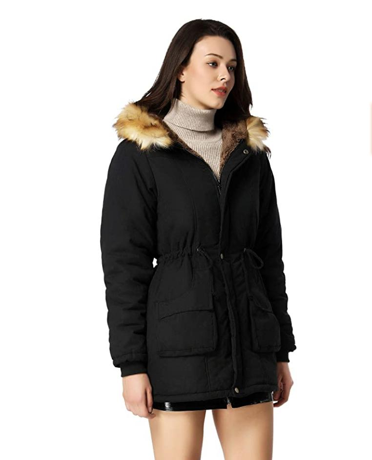 NWT Women's Hooded Coat Faux Fur Lined 10US
