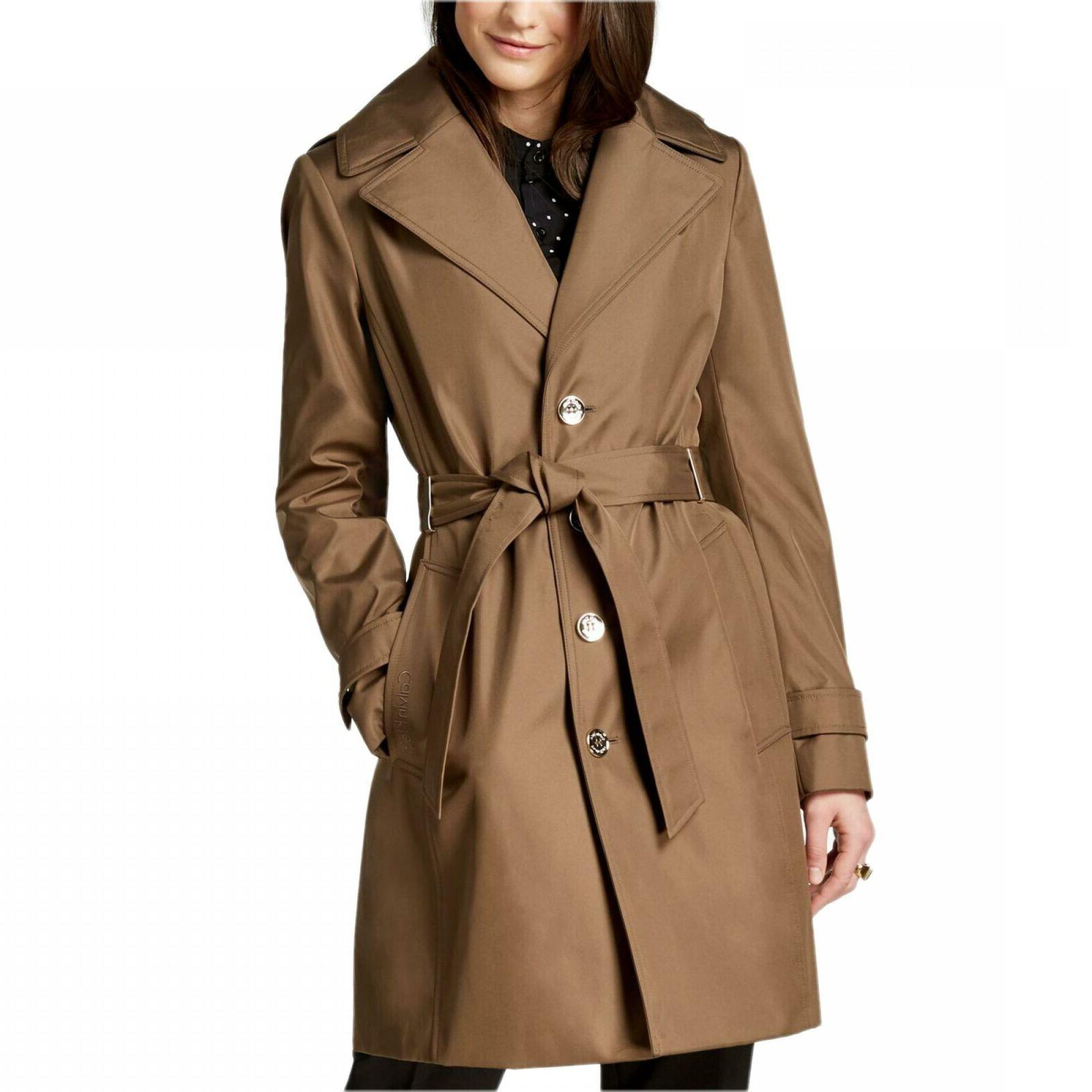 nwt womens hooded belted water resistant trench