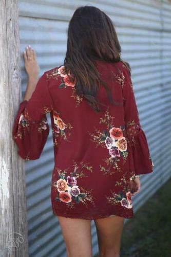 Floral Kimono Lady Summer Top Blouse Coat