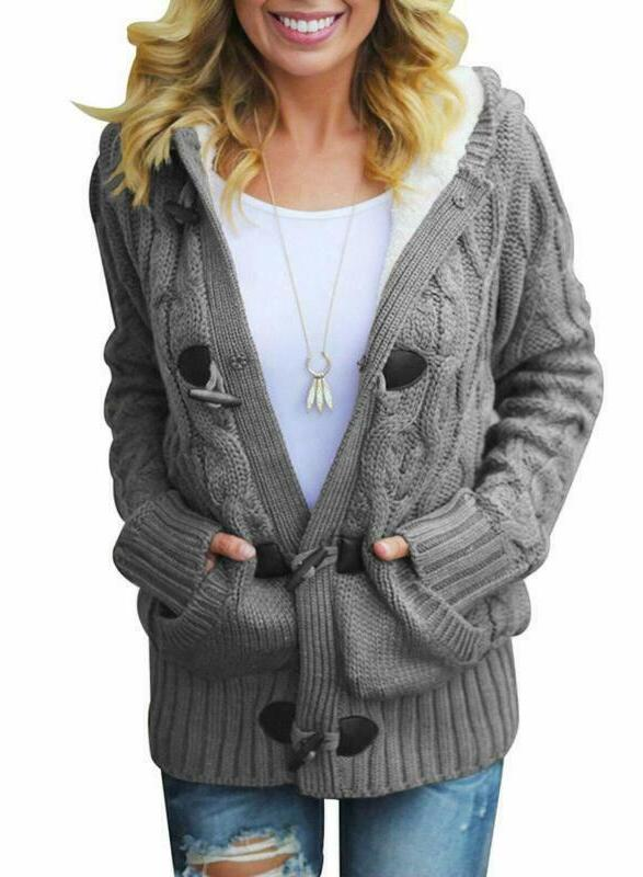 sidefeel women button up cardigan knit hooded