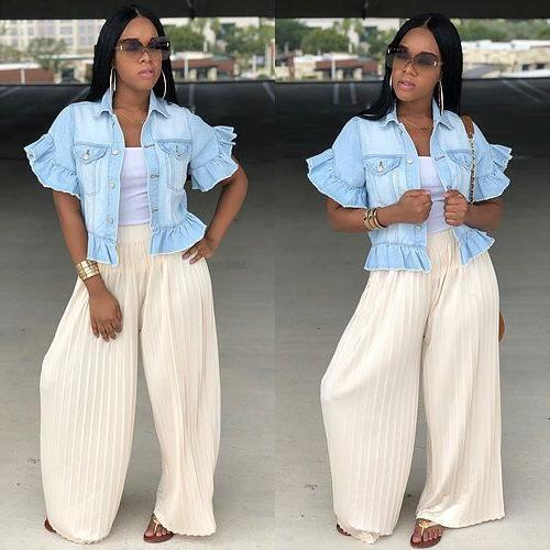 Women's Ruffle Sleeve Denim Jacket Fashion Tops
