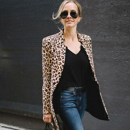 US Leopard Women Sweater Warm Winter Sleeve Coat