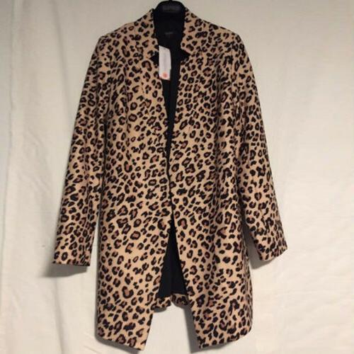 US Leopard Jacket Women Sweater Warm Winter Coat