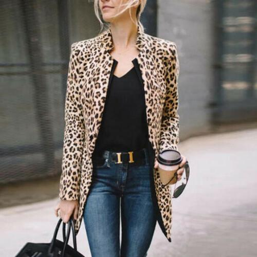 US Leopard Sweater Winter Long Sleeve Coat