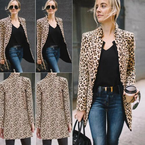 US Leopard Women Sweater Top Winter Cardigan Long Coat