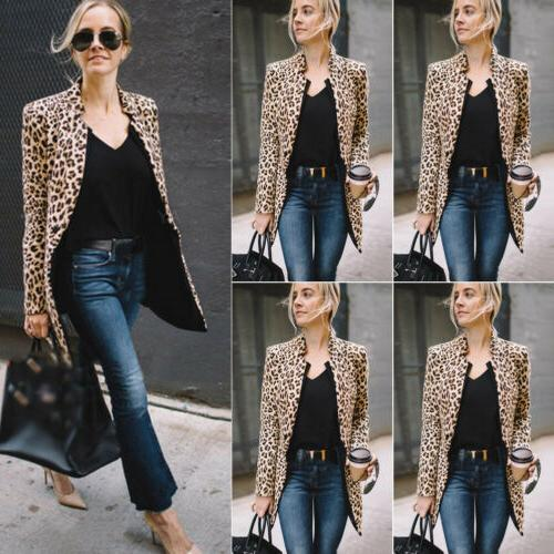 US Leopard Jacket Sweater Winter Cardigan Coat