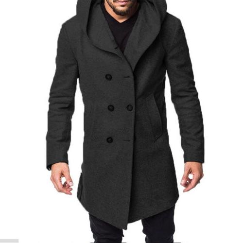 US Men's British Style Overcoat Long Jacket Trench Coat Outwear