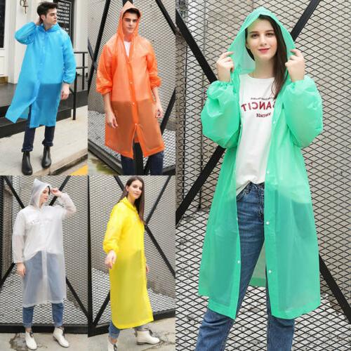 Women//Men Waterproof Jacket Clear PE Raincoat Rain Coat Hooded Poncho Rainwear