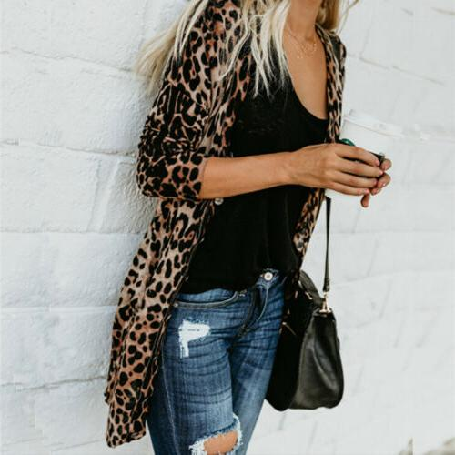 46b4c1a1cb7d US STOCK Women Leopard Print Top Cardigan Loose