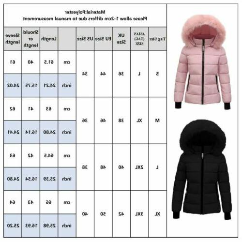 US Women Fur Collar Winter Warm Thicken Coat Outwear