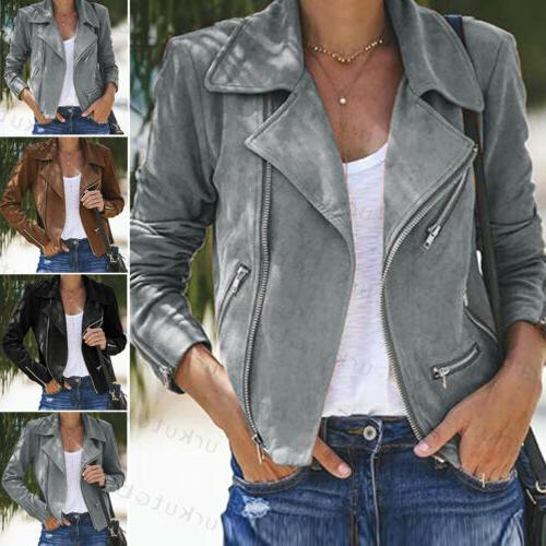 US Women Jacket Coats Biker Flight Coat