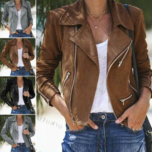 US Women Ladies Jacket Coats Zip Biker Casual Coat