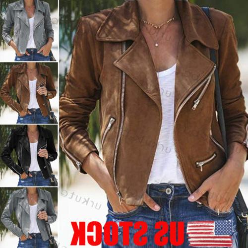 us women ladies leather jacket coats zip