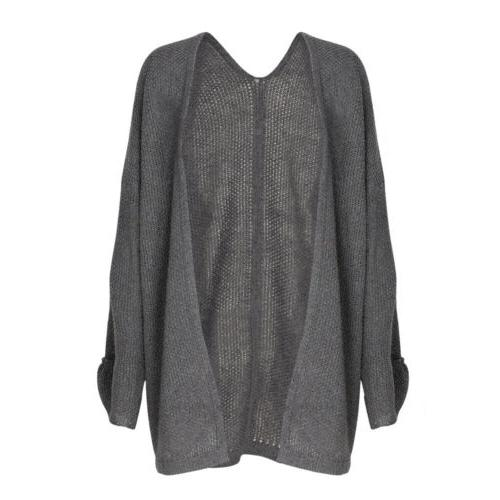 US Womens Baggy Cardigan Coat Top Knitted Oversized Sweater